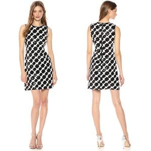 NEW Taylor Sequin Sleeveless Dress Black White 4